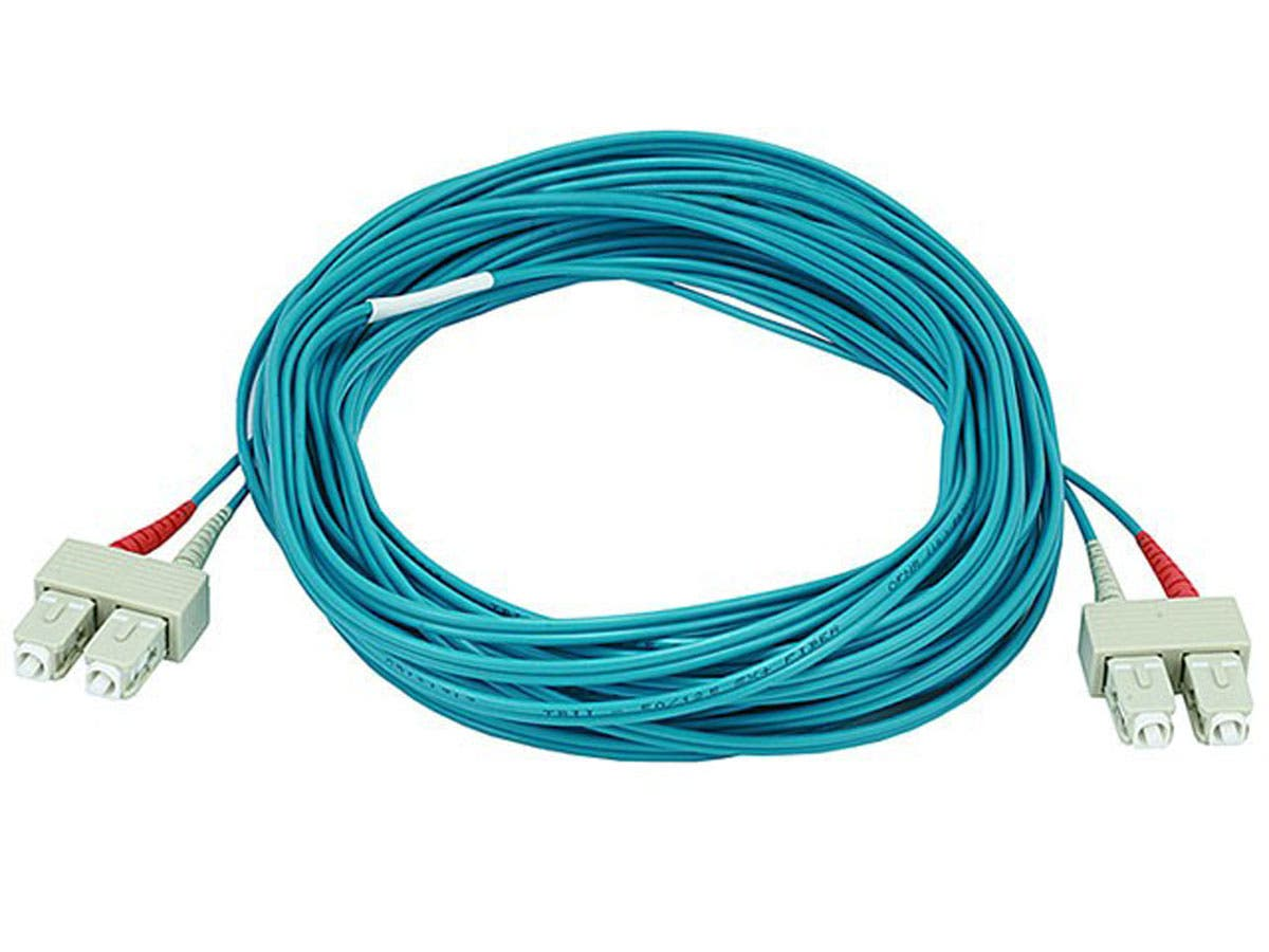 10Gb Fiber Optic Cable, SC/SC, Multi Mode, Duplex - 10 Meter (50/125 Type) - Aqua
