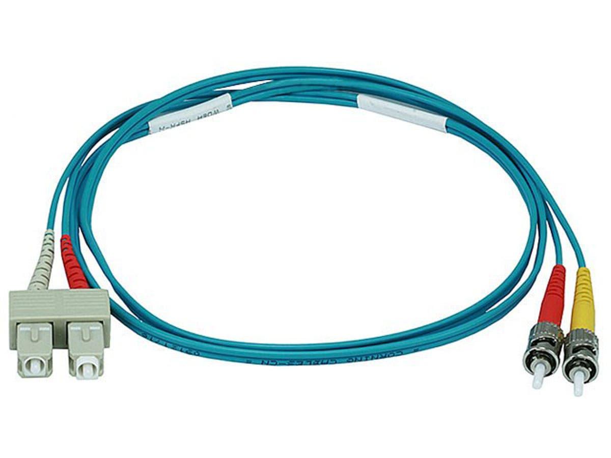 Monoprice OM3 Fiber Optic Cable - SC/ST, UL, 50/125 Type, Multi-Mode, 10GB, Aqua, 1m, Corning - main image