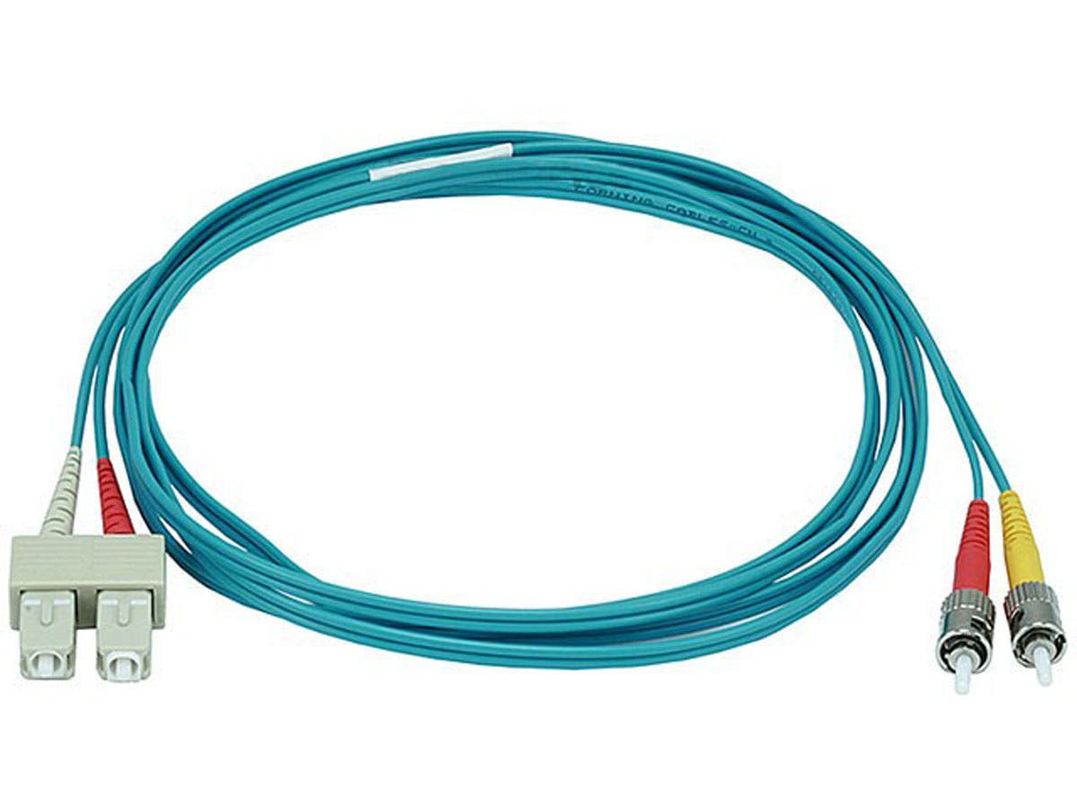 Monoprice Fiber Optic Cable - ST to SC, OM3, 50/125 Type, Multi Mode, 10Gb, Duplex, Aqua, 2m, Corning-Large-Image-1