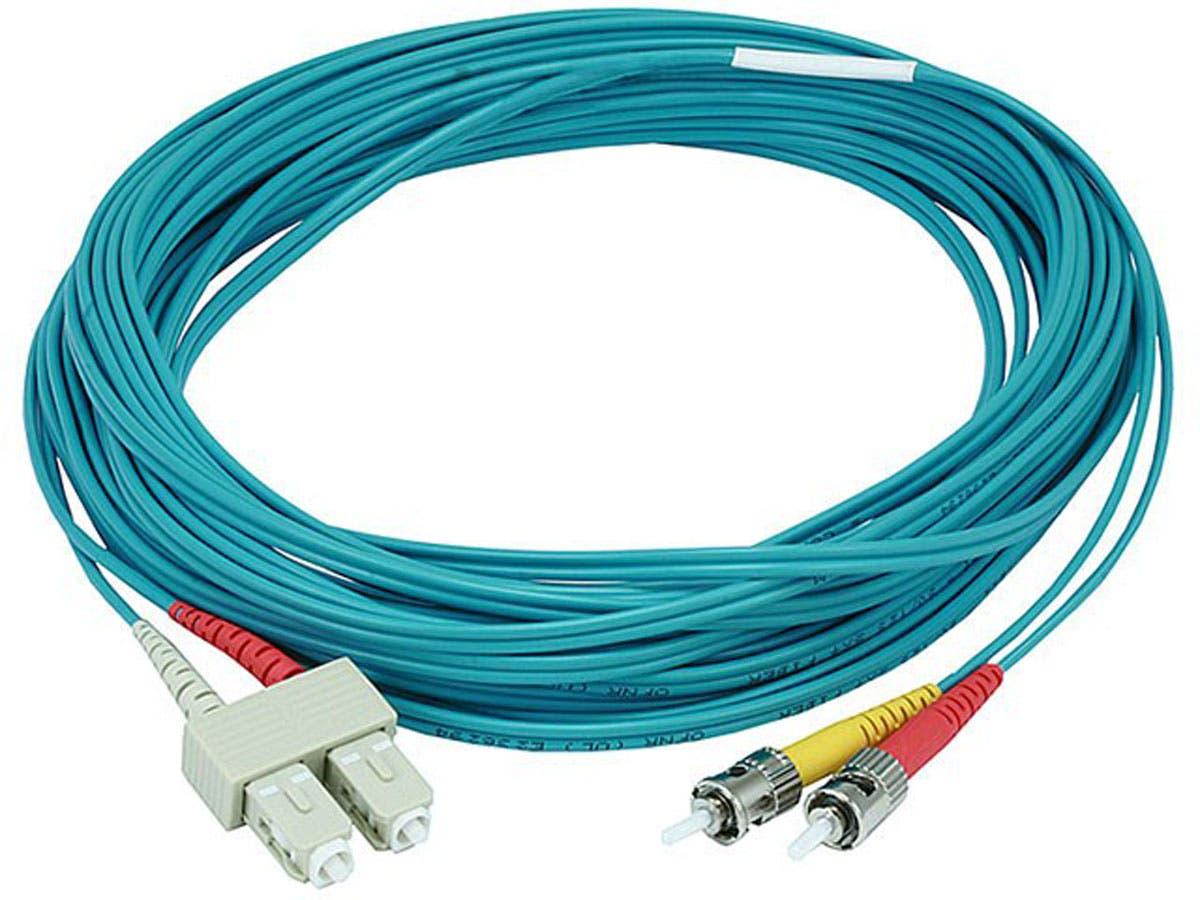 Monoprice 10Gb Fiber Optic Cable, ST/SC, Multi Mode, Duplex - 10 Meter (50/125 Type) - Aqua, Corning-Large-Image-1