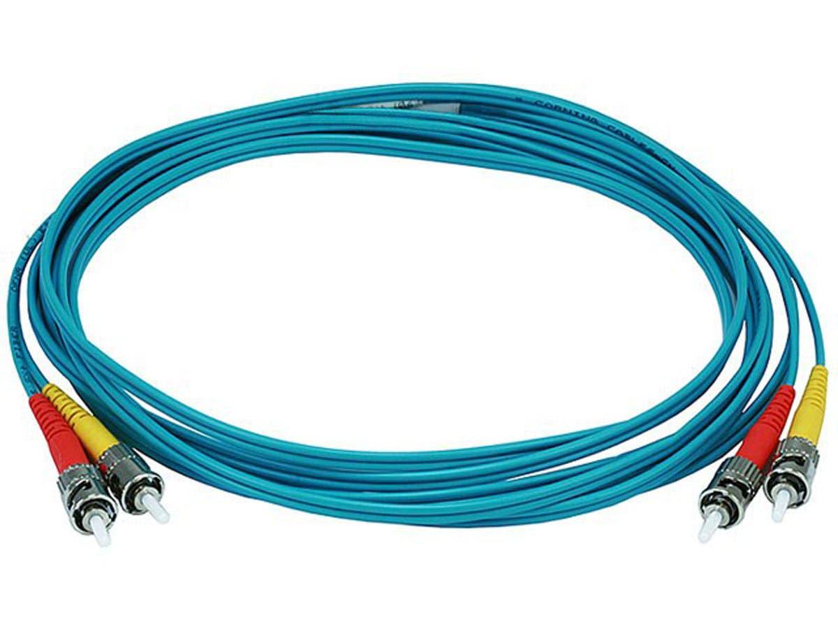 10Gb Fiber Optic Cable, ST/ST, Multi Mode, Duplex - 3 Meter (50/125 Type) - Aqua