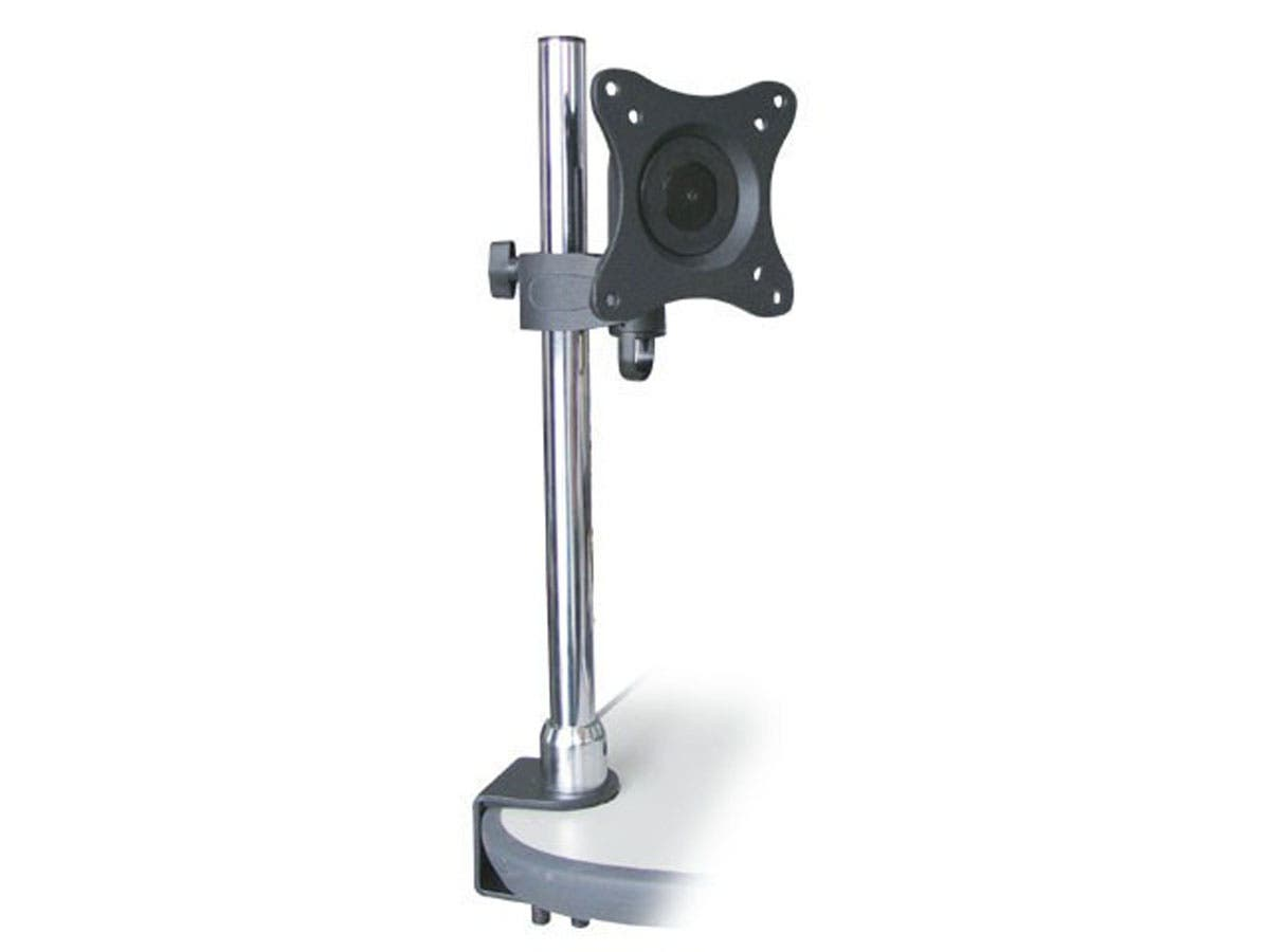 Monoprice Adjustable Tilting Desk Mount Bracket for 10~23in TVs up to 33 lbs, Black-Large-Image-1