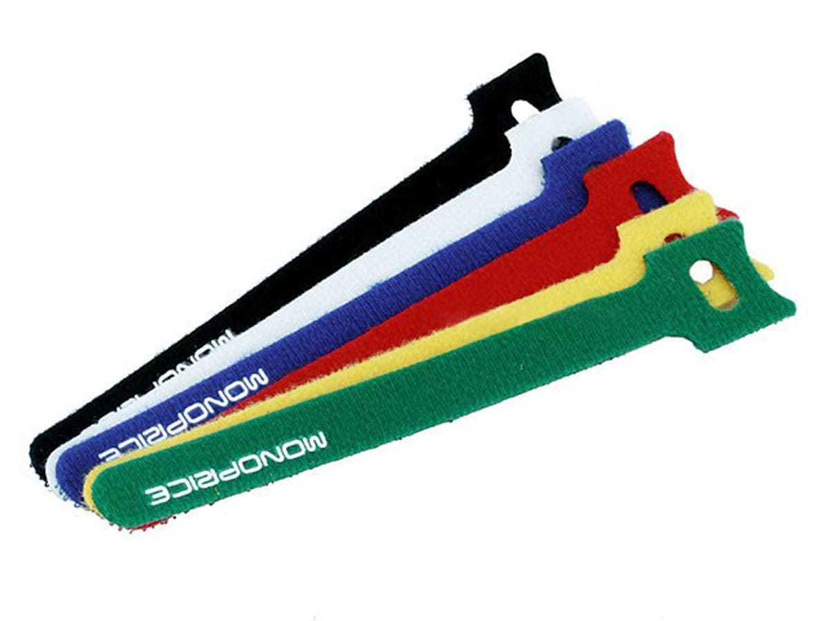 Hook and Loop Fastening Cable Ties, 6 in, 60 pcs/pack, 6 Colors