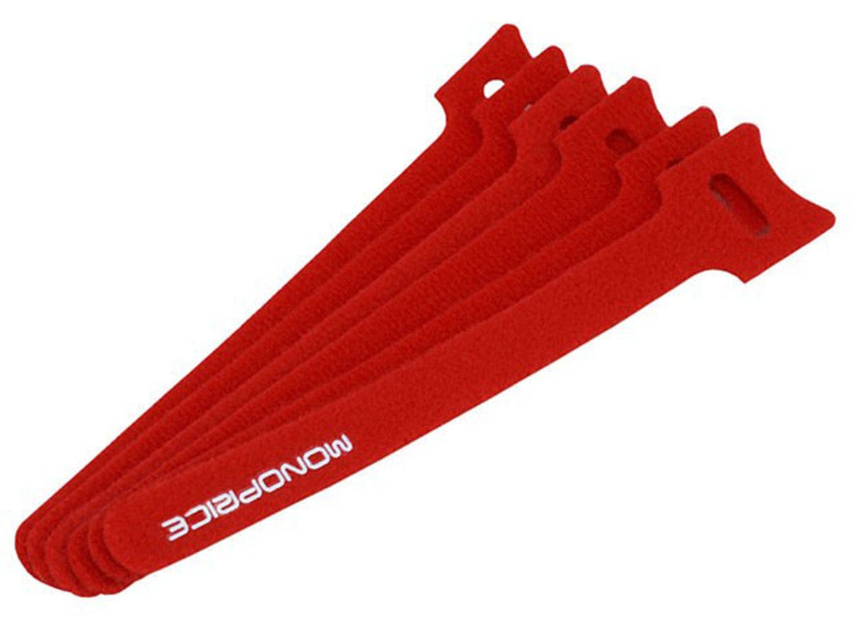 Hook and Loop Fastening Cable Ties, 6 in, 100 pcs/pack, Red