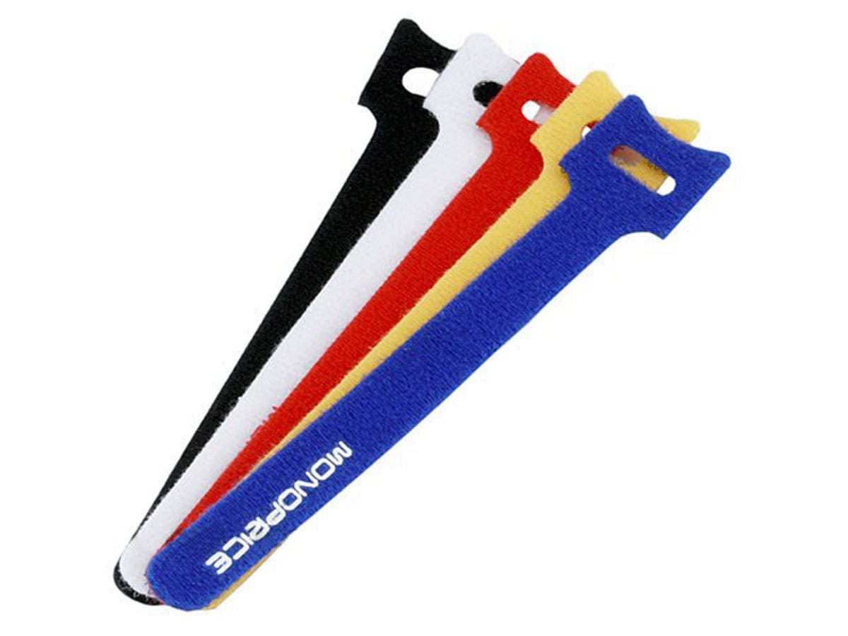 Hook and Loop Fastening Cable Ties, 6 in, 100 pcs/pack, 5 Colors