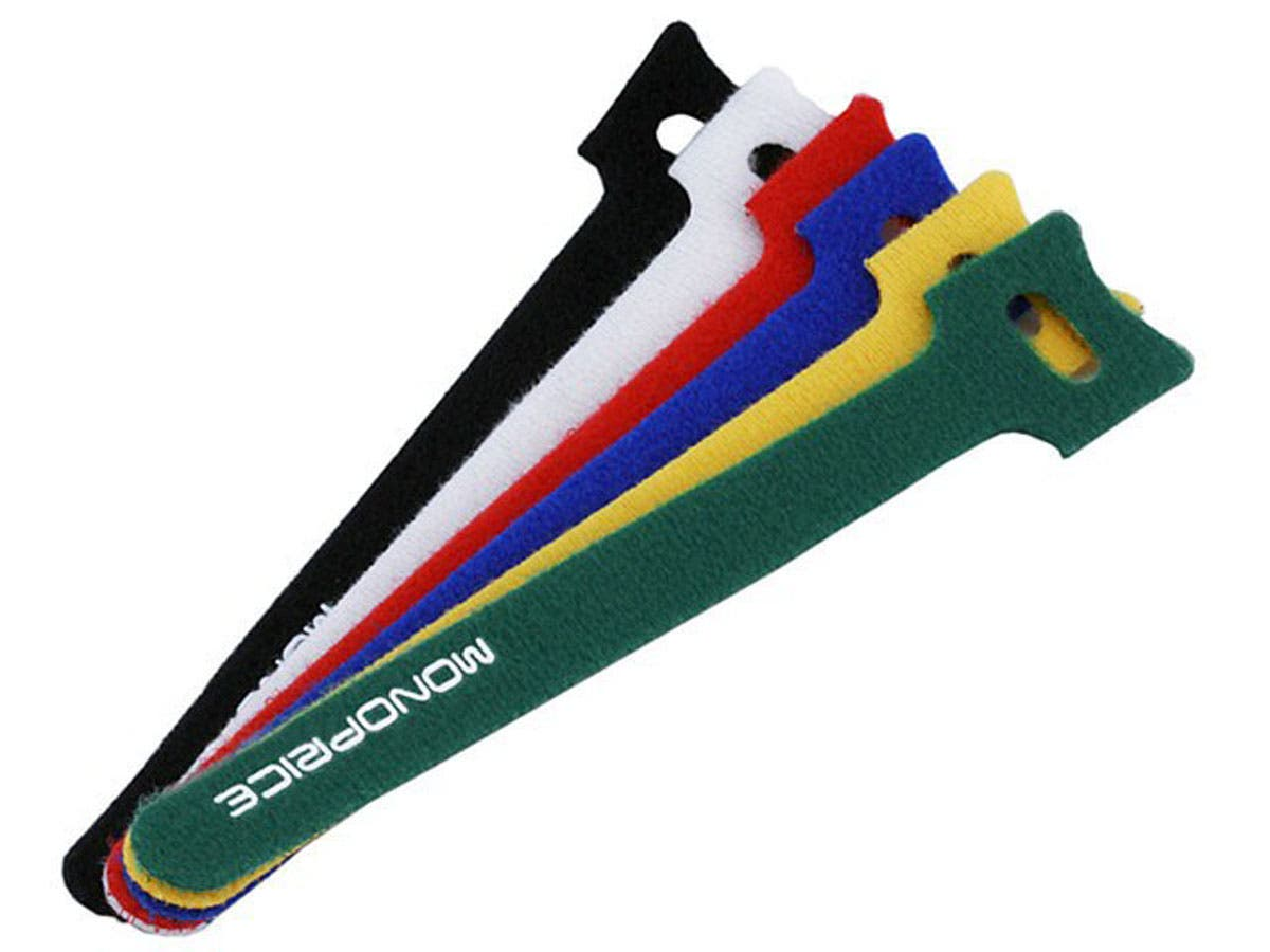Hook and Loop Fastening Cable Ties, 6 in, 120 pcs/pack, 6 Colors