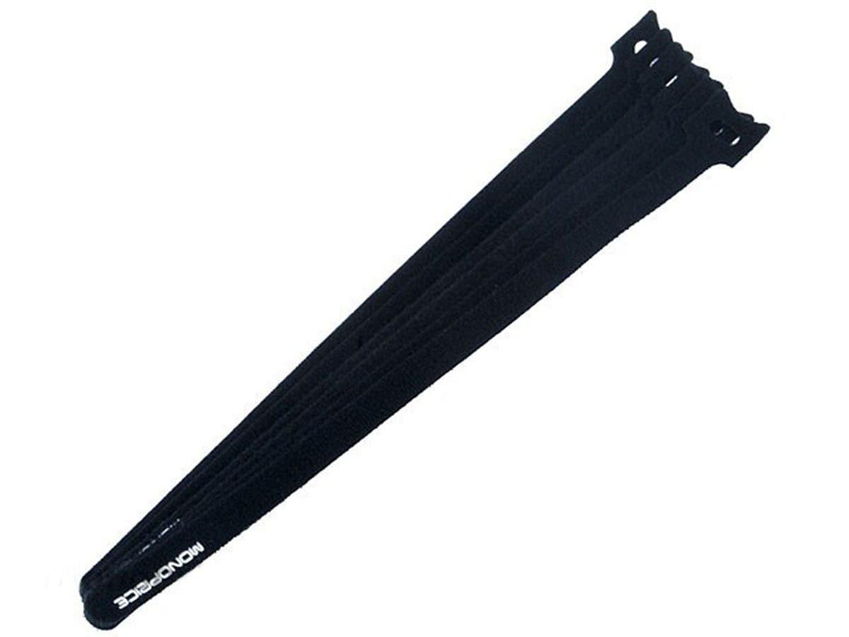 Hook and Loop Fastening Cable Ties, 13 in, 100 pcs/pack, Black