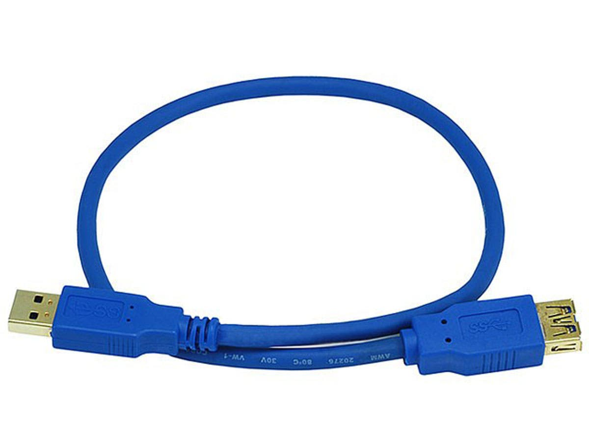 USB-A to USB-A Female 3.0 Extension Cable - 28/24AWG, Gold Plated, Blue, 1.5ft-Large-Image-1