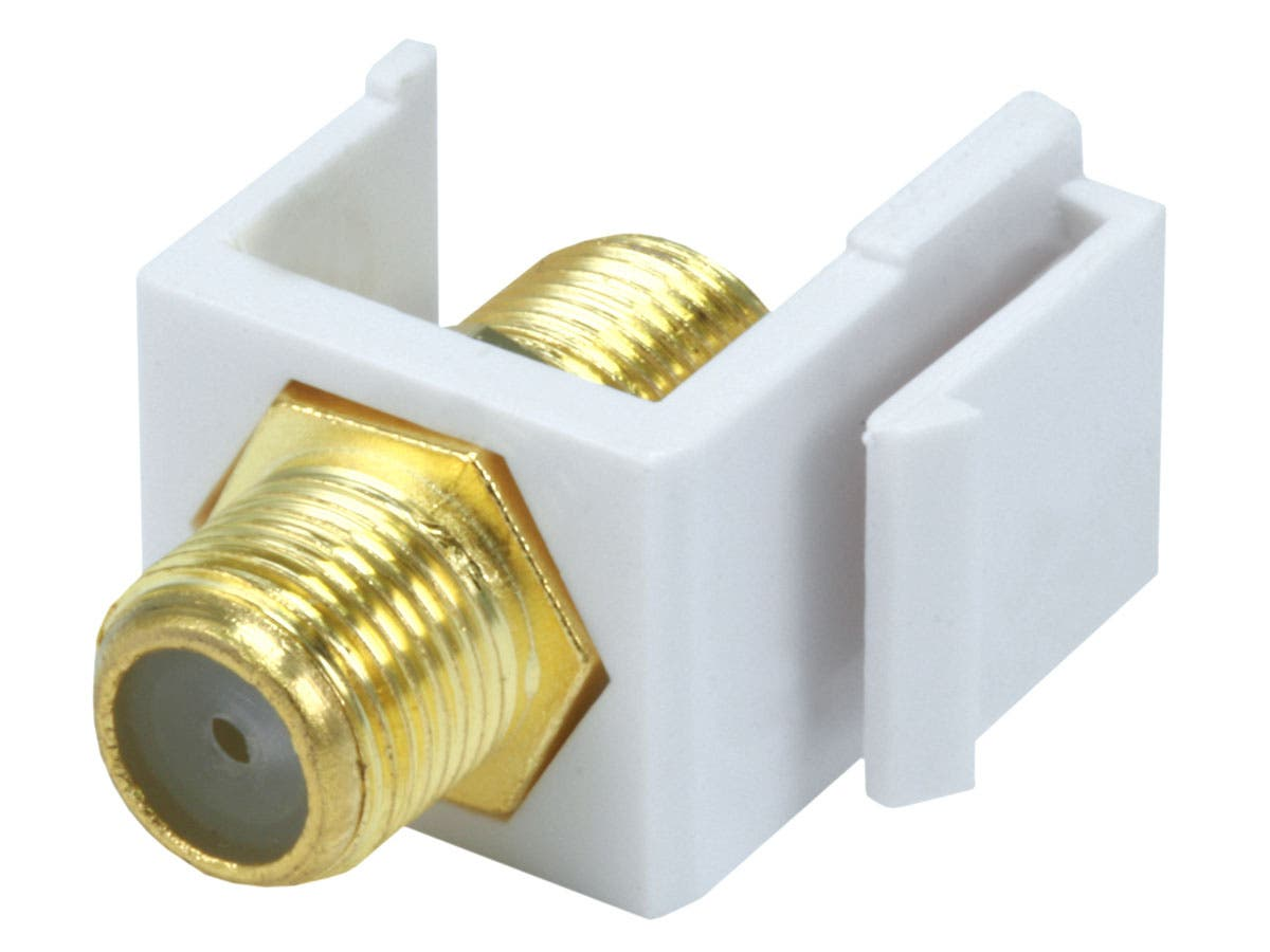 3 PORT CAT6 ETHERNET 1 Coaxial Cable TV Coupler Jack Wall Plate White F-F