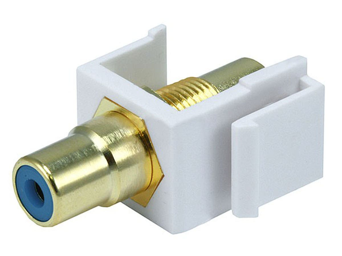 Keystone Jack - Modular RCA w/Blue Center (White)