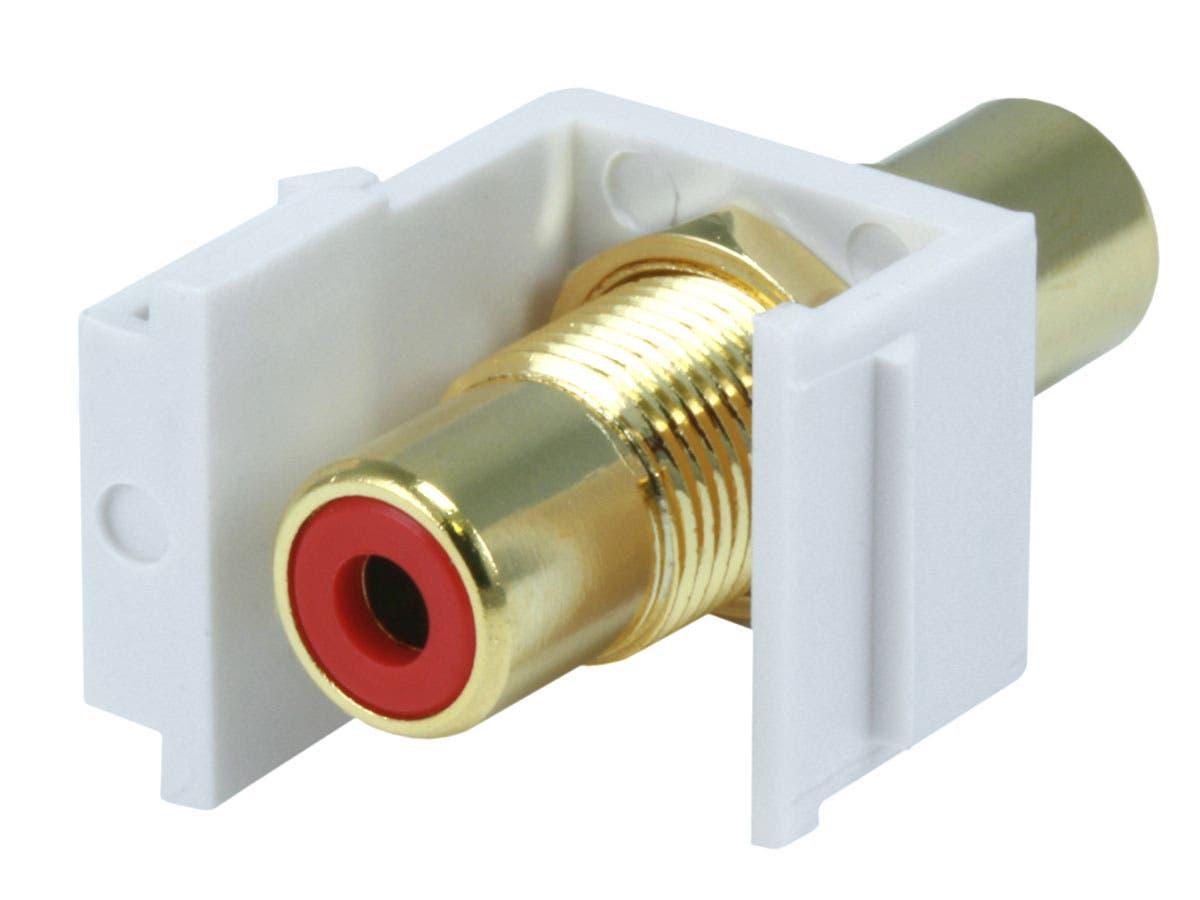 2x Audio Keystone Jack Modular RCA Red Center White