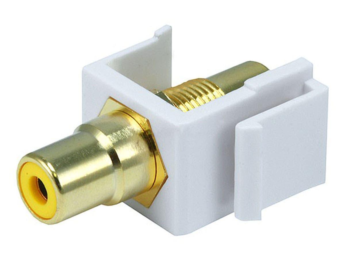 Keystone Jack - Modular RCA w/Yellow Center (White) -Large-Image-1