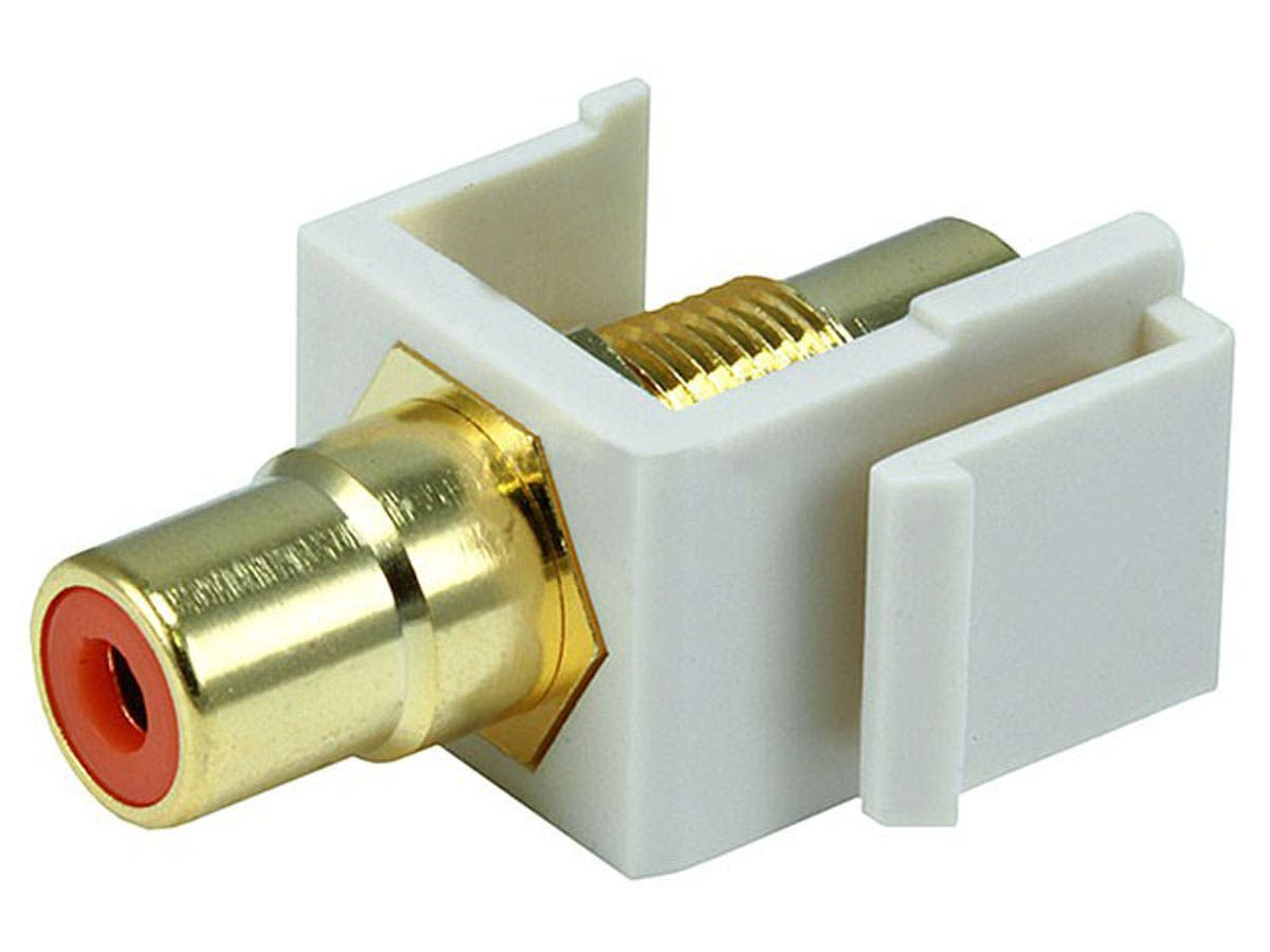 Keystone Jack - Modular RCA w/Orange Center (Ivory) -Large-Image-1