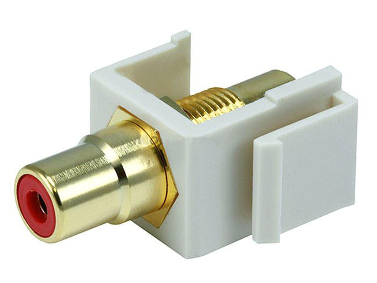 Monoprice Keystone Jack - Modular RCA w/Red Center (Ivory)-Large-Image-1