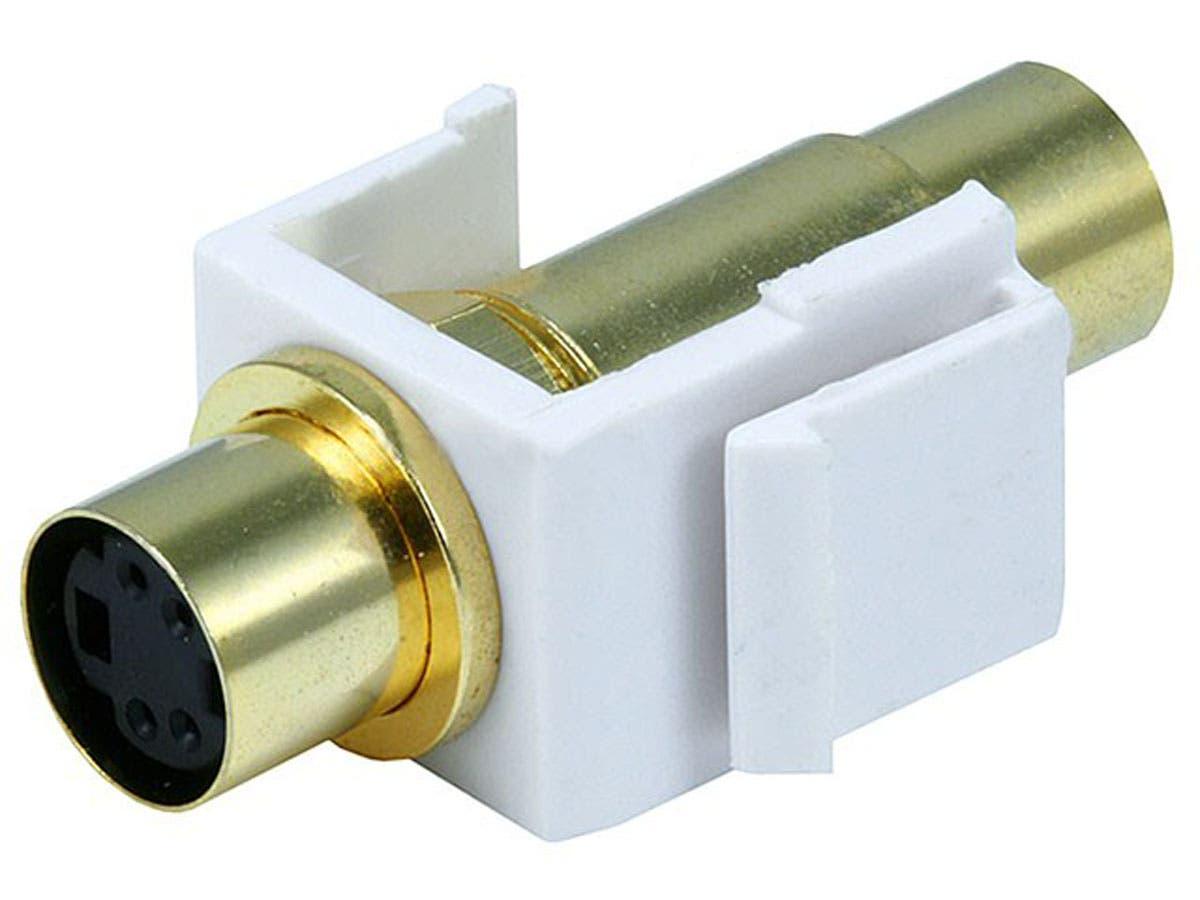 Monoprice Keystone Jack - S-Video Mini 4Pin F/F (White)-Large-Image-1
