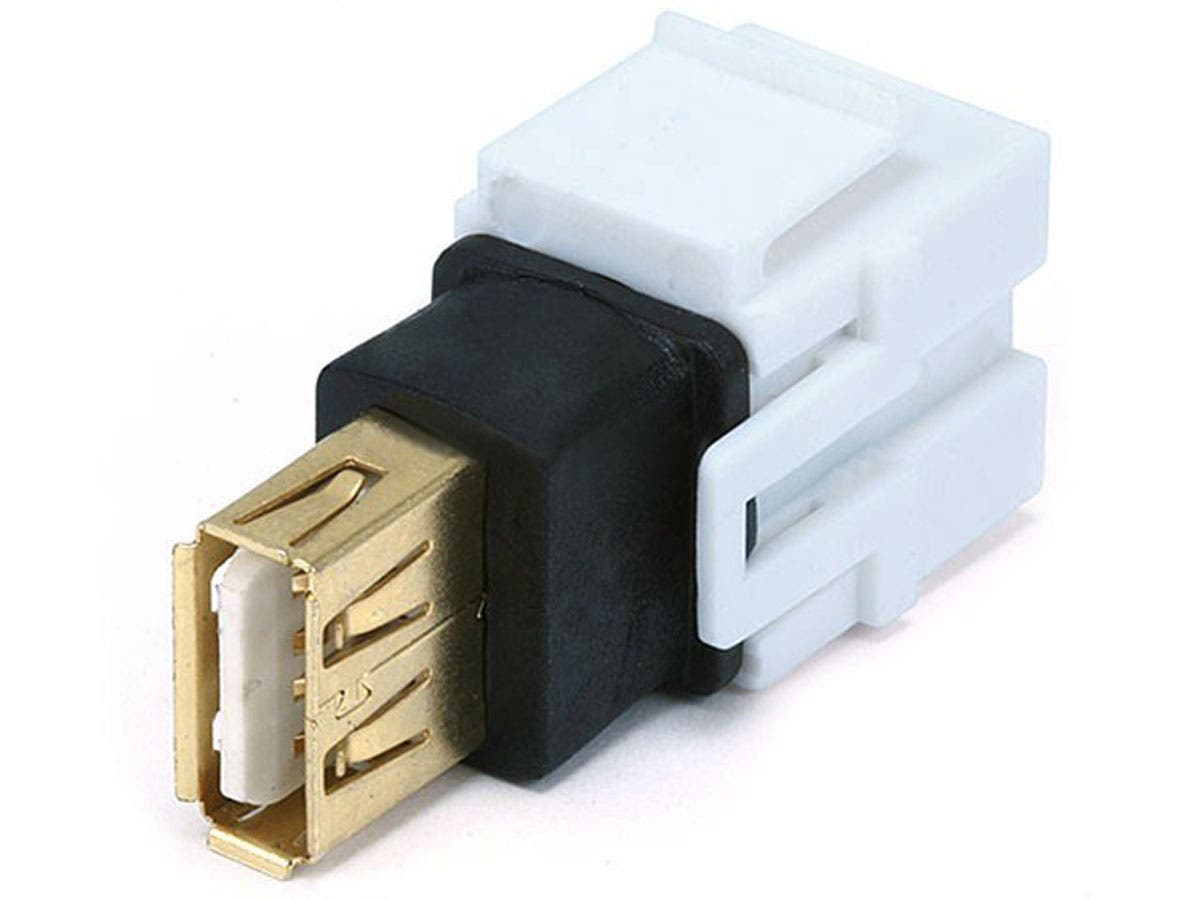 Monoprice Keystone Jack - USB 2.0 A Female to A Female Coupler Adapter, Flush Type (White)-Large-Image-1