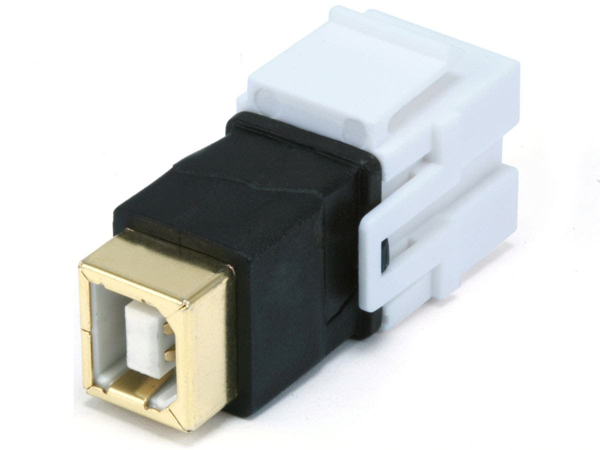Keystone Jack - USB 2.0 B Female to B Female Coupler Adapter, Flush Type (White)-Large-Image-1