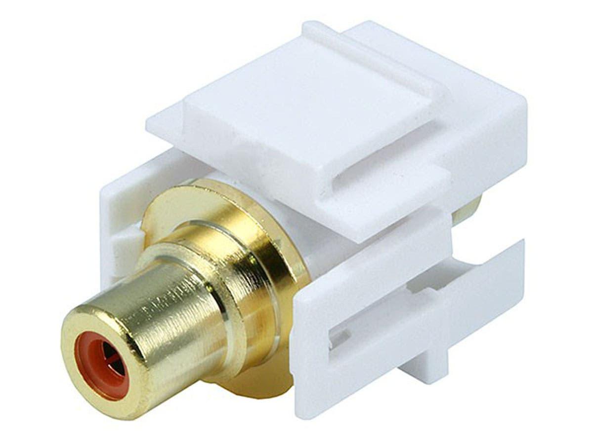 Keystone Jack - Modular RCA w/Orange Center, Flush Type (White)