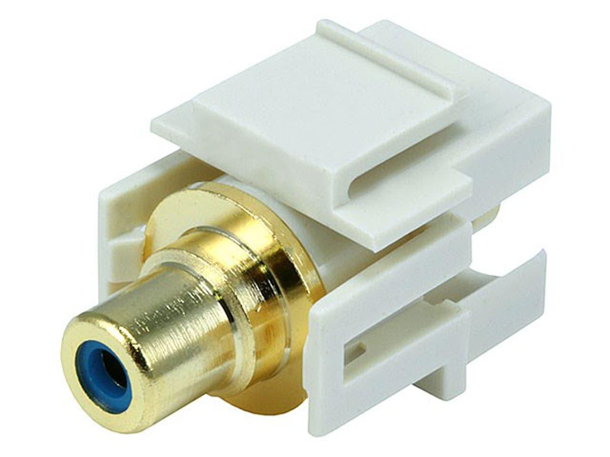 Monoprice Keystone Jack - Modular RCA w/Blue Center, Flush Type (Ivory)-Large-Image-1