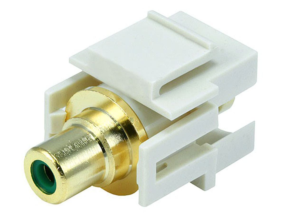 Monoprice Keystone Jack - Modular RCA w/Green Center, Flush Type (Ivory)-Large-Image-1