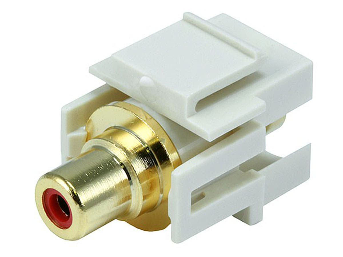 Monoprice Keystone Jack - Modular RCA w/Red Center, Flush Type (Ivory)-Large-Image-1