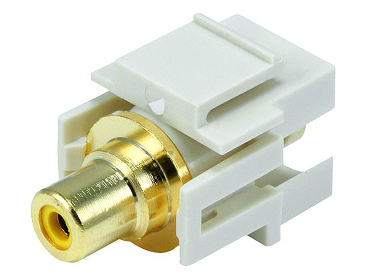 Monoprice Keystone Jack - Modular RCA w/Yellow Center, Flush Type (Ivory)-Large-Image-1