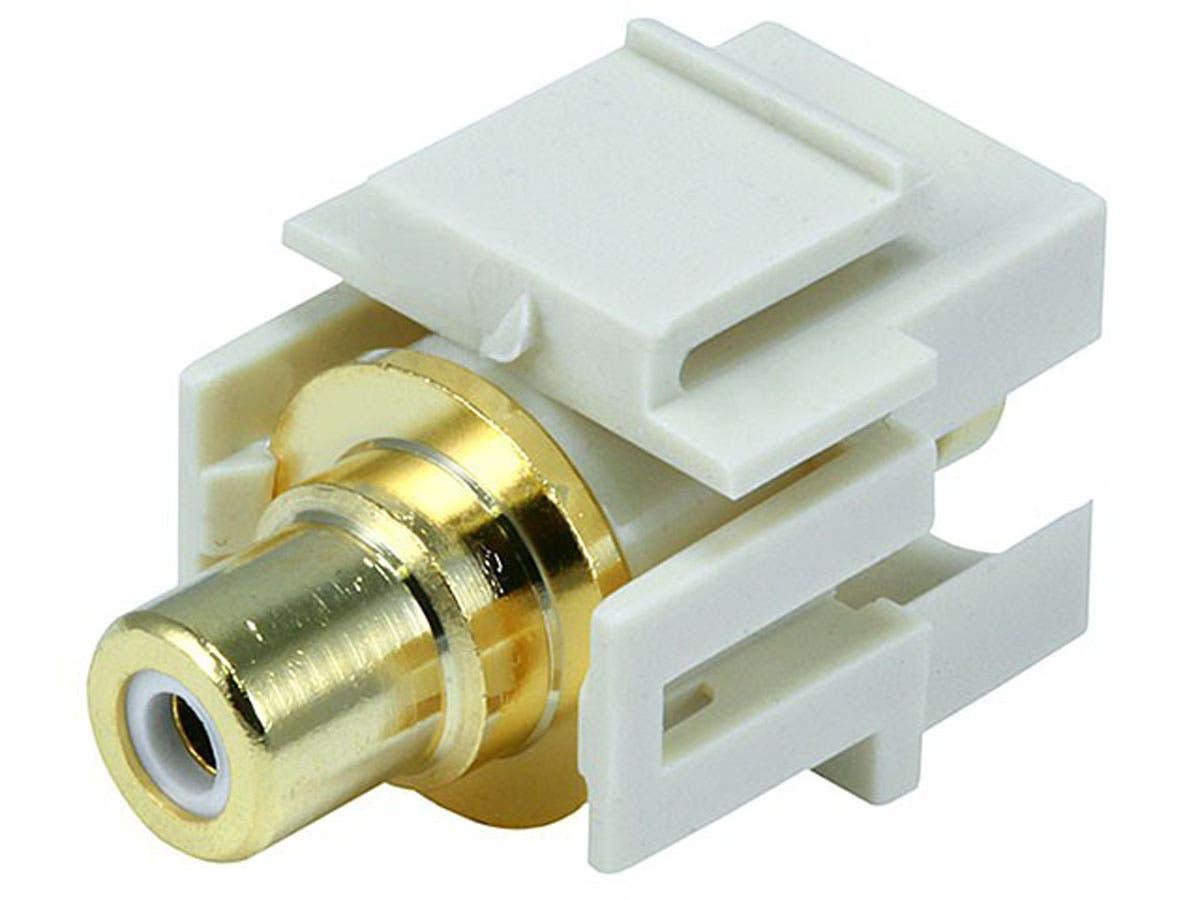 Monoprice Keystone Jack - Modular RCA w/White Center, Flush Type (Ivory)-Large-Image-1