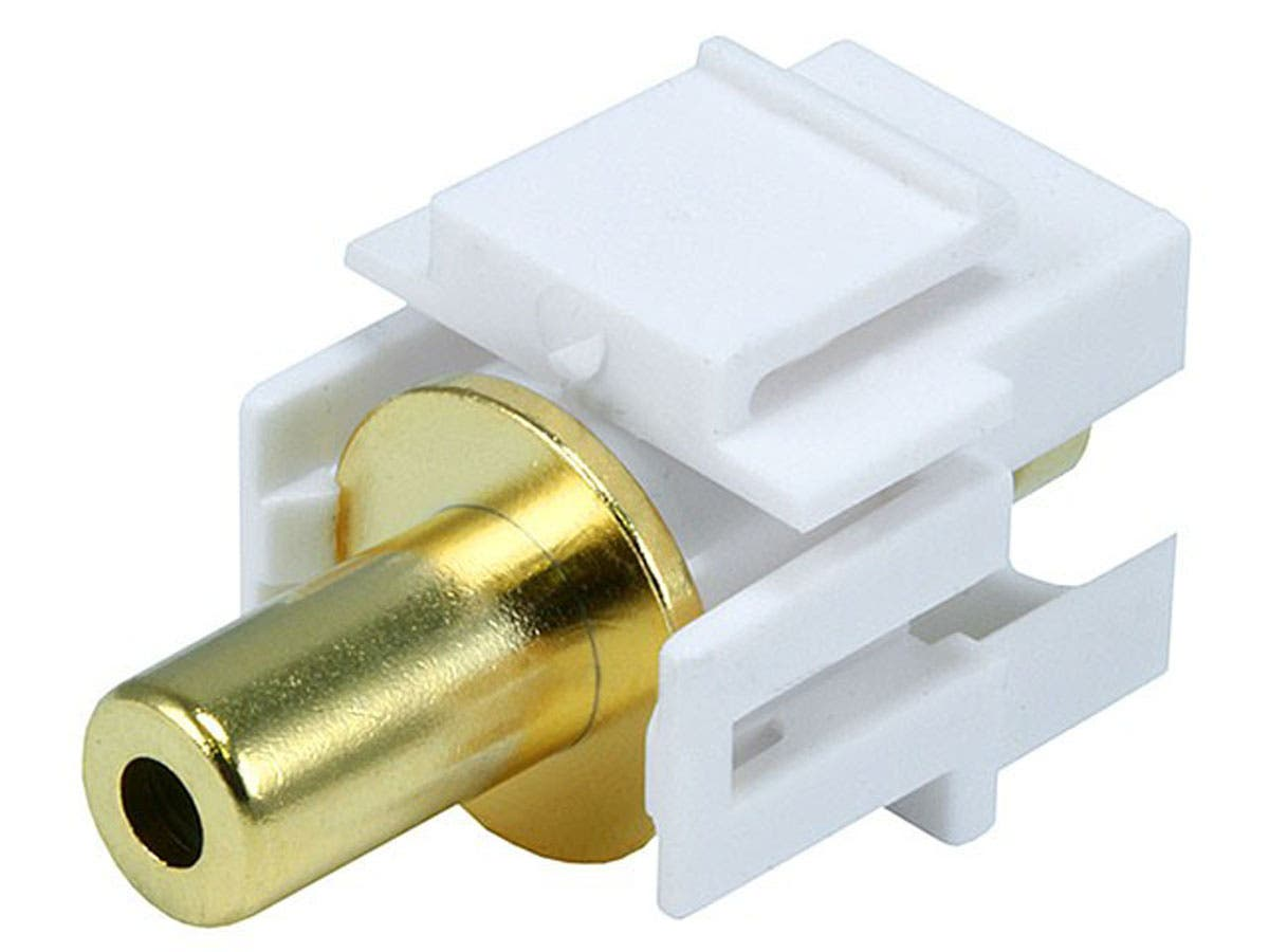Monoprice Keystone Jack - 3.5mm Stereo, Flush Type (White)-Large-Image-1