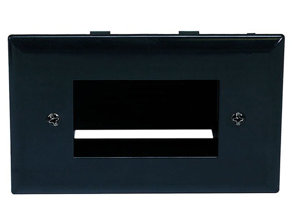 Easy Mount Low Voltage Cable Recessed Wall Plate - Black
