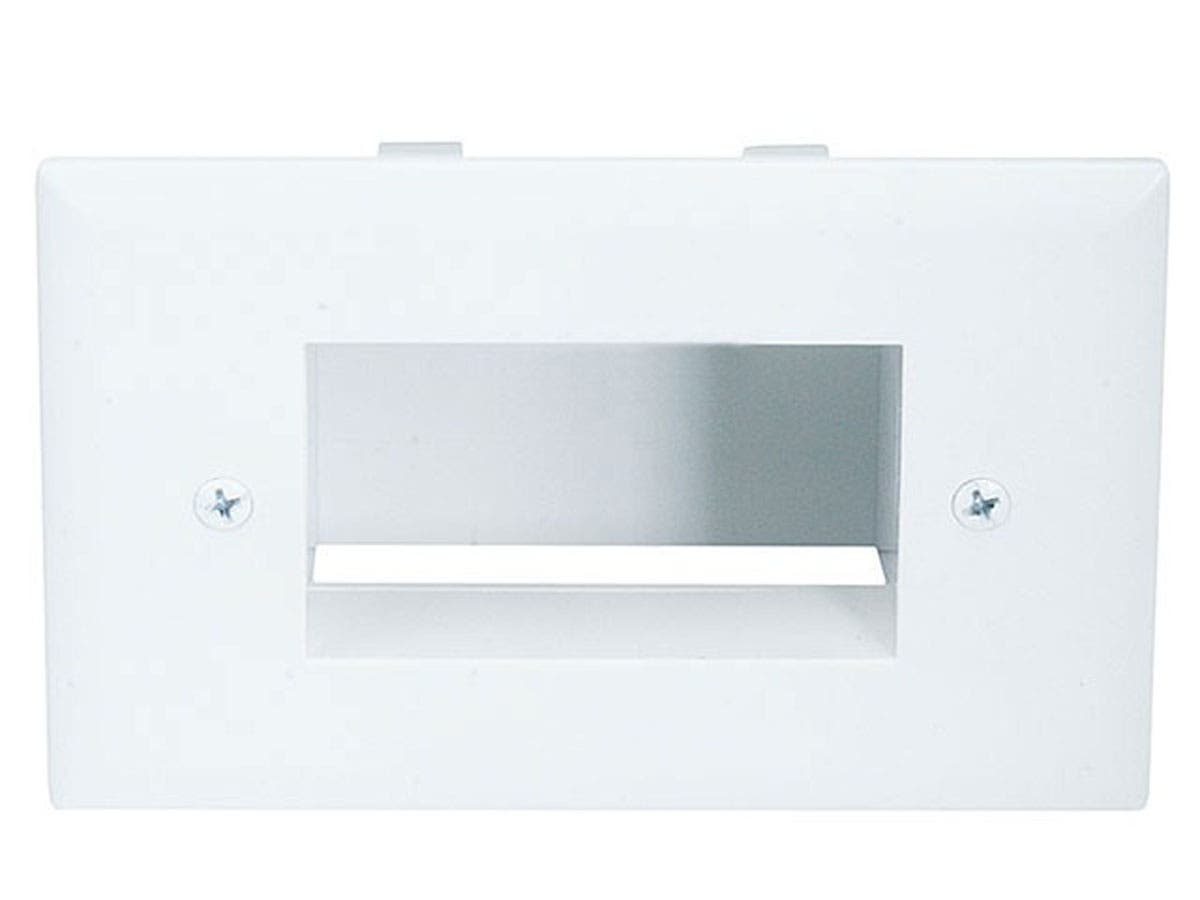 Easy Mount Low Voltage Cable Recessed Wall Plate - White-Large-Image-1