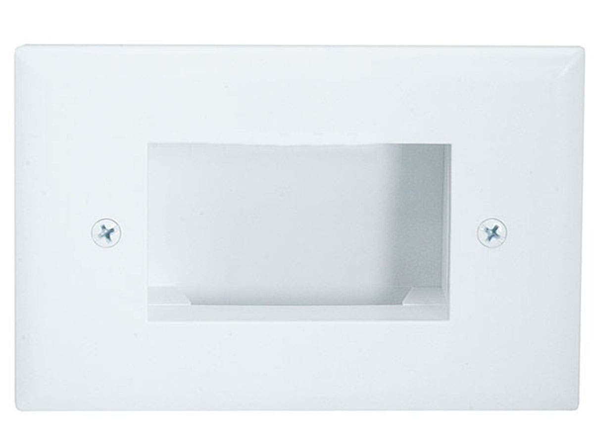 Easy Mount Low Voltage Cable Recessed Wall Plate, Slim Fit - White-Large-Image-1