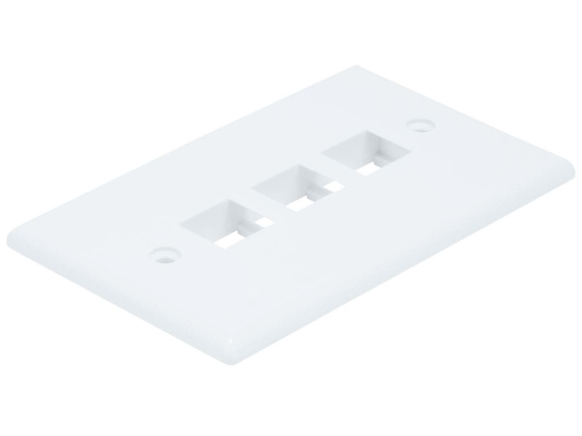 Monoprice Wall Plate for Keystone, 3 Hole - White-Large-Image-1