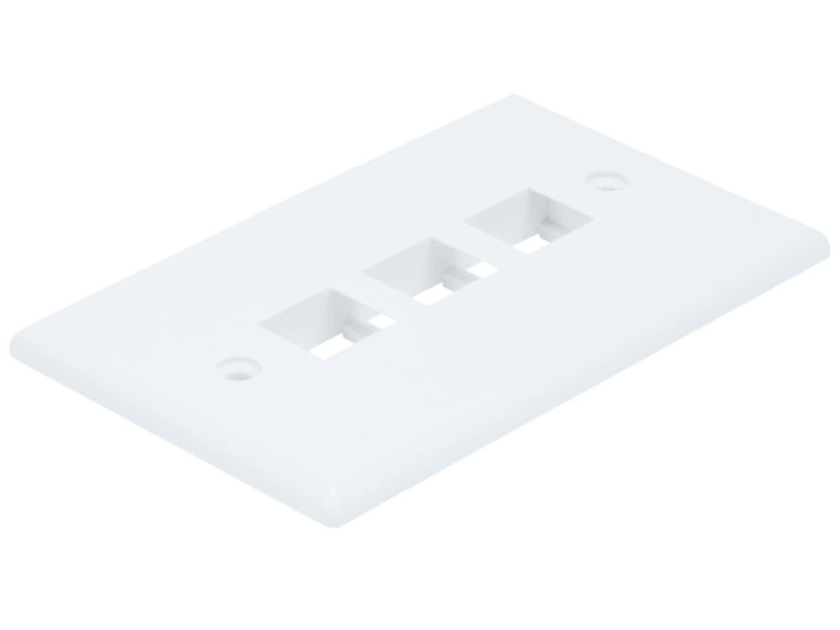 Wall Plate for Keystone, 3 Hole - White-Large-Image-1
