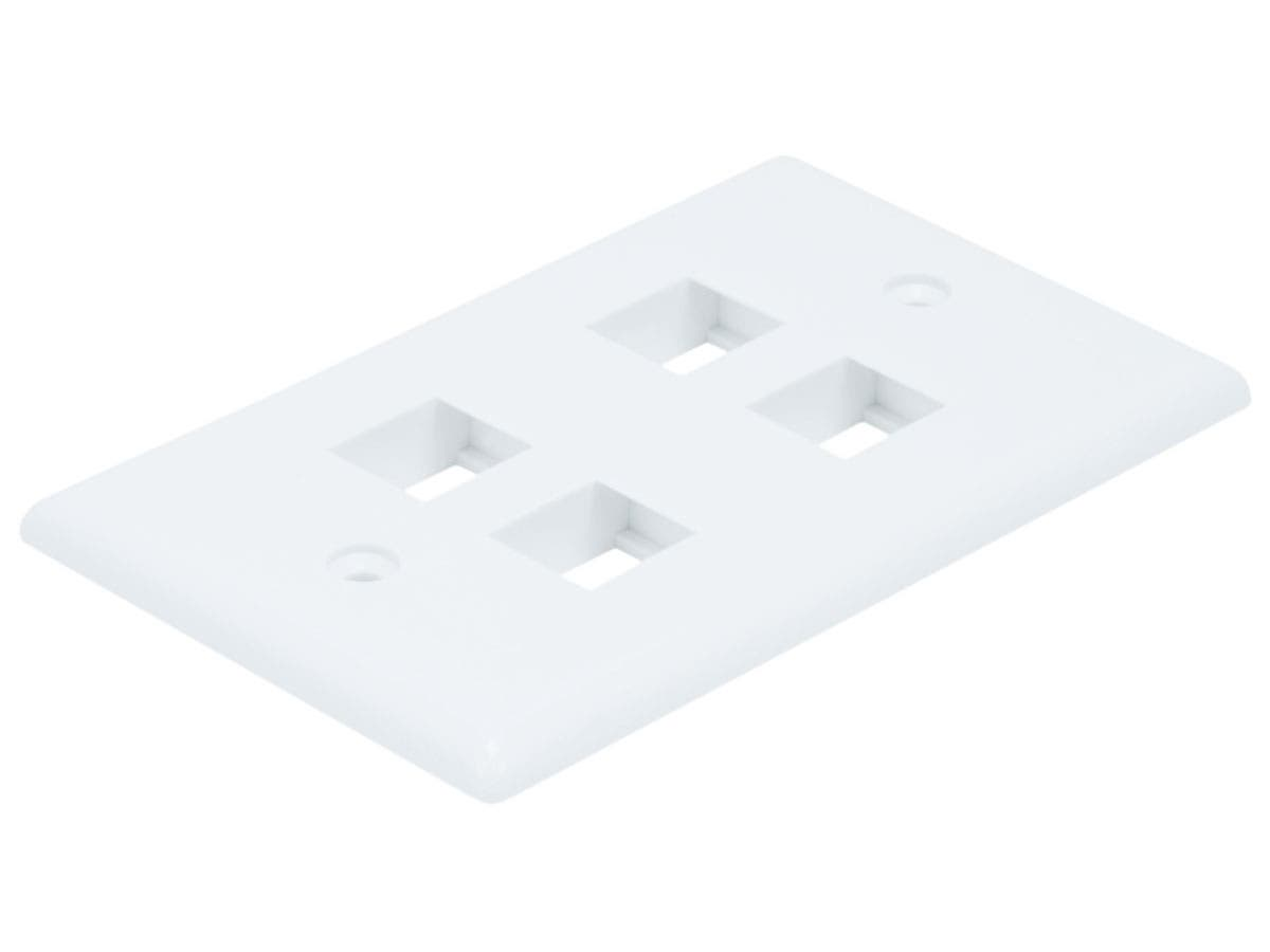 Monoprice Wall Plate for Keystone, 4 Hole - White-Large-Image-1