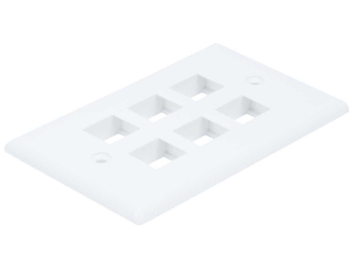 Monoprice Wall Plate for Keystone, 6 Hole - White-Large-Image-1