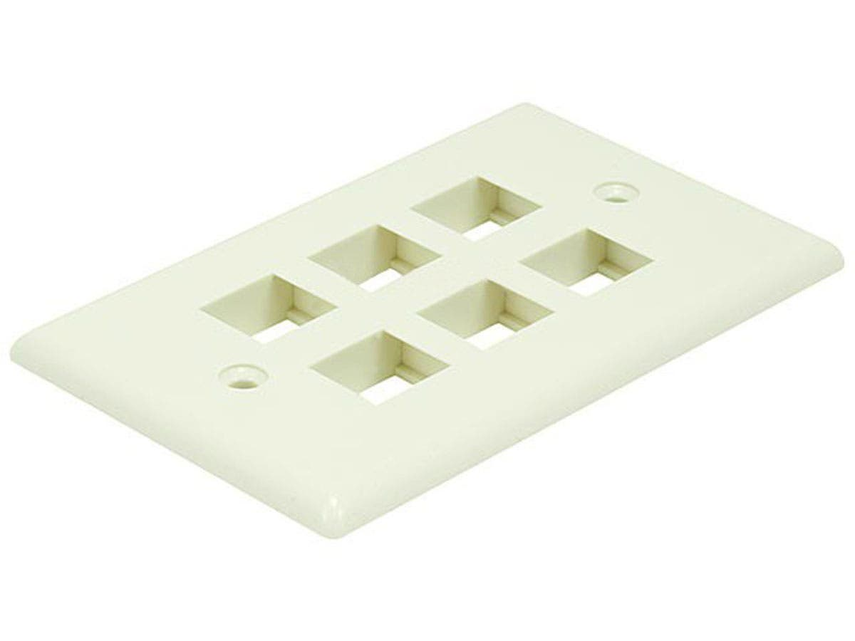 Wall Plate for Keystone, 6 Hole - Ivory