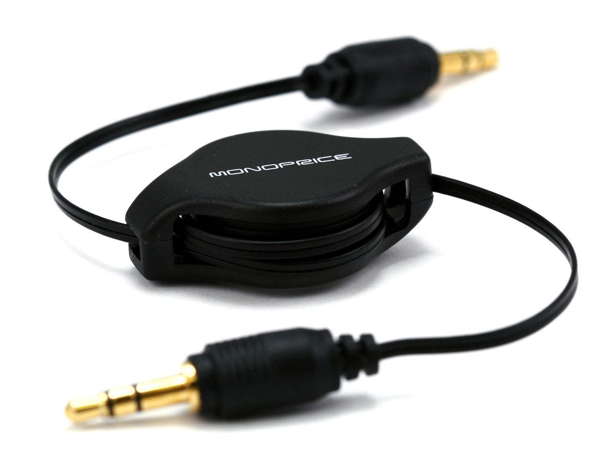 Monoprice 2.5ft Retractable 3.5mm Audio Cable - Black-Large-Image-1