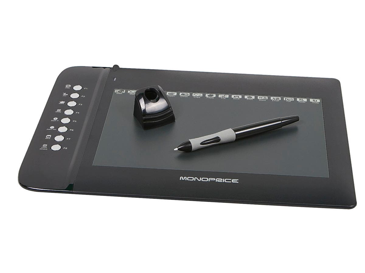 Monoprice 10x6.25in Graphic Drawing Tablet with 8 Hot Keys for Legacy Systems up to Mac OS X 10.7.5-Large-Image-1