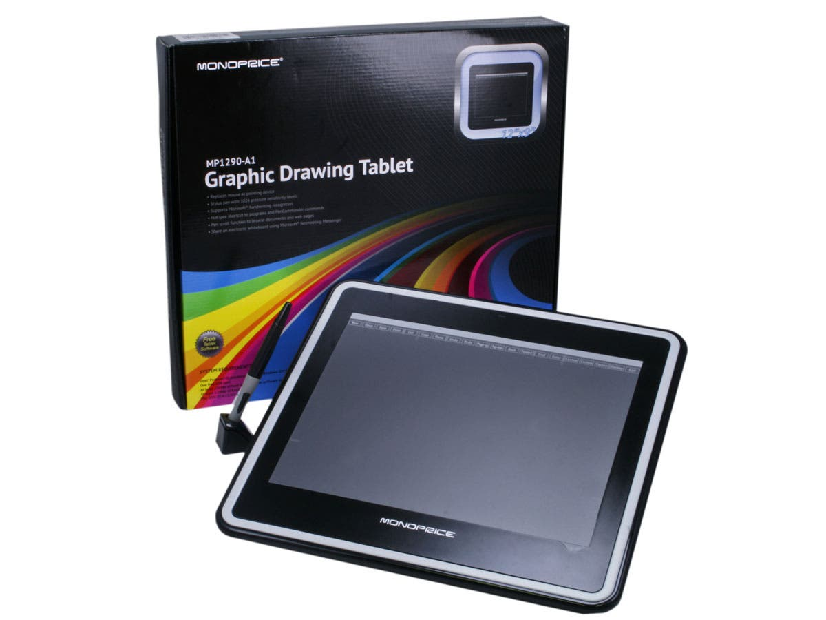 Monoprice 12x9in Graphic Drawing Tablet with 4000LPI, 200RPS, and