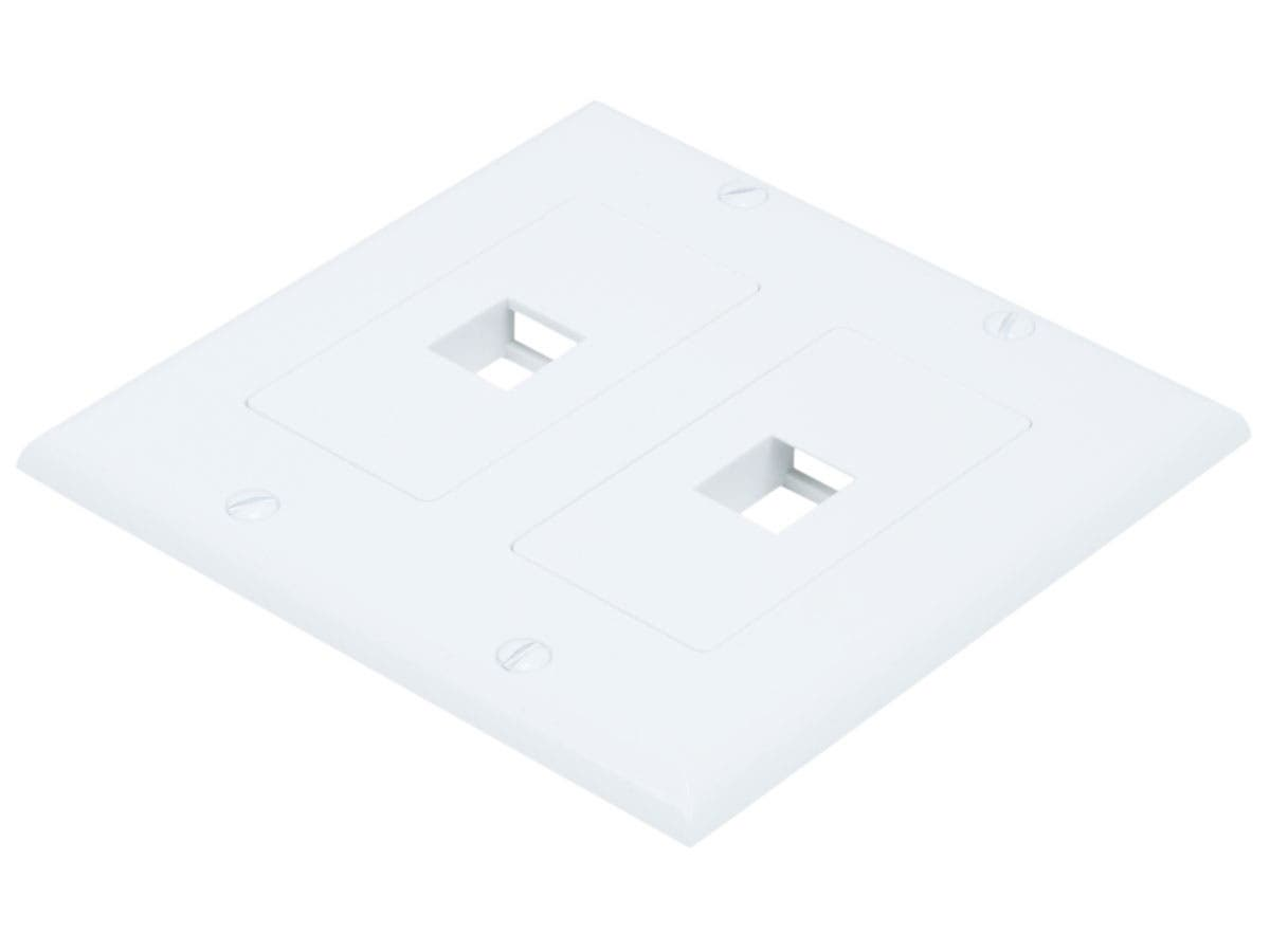 Monoprice 2-Gang Wall Plate for Keystone, 2 Hole - White-Large-Image-1