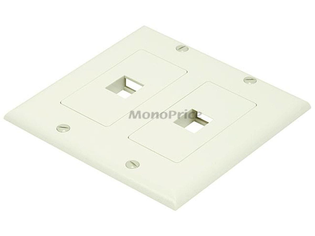 2-Gang Wall Plate for Keystone, 2 Hole - Ivory