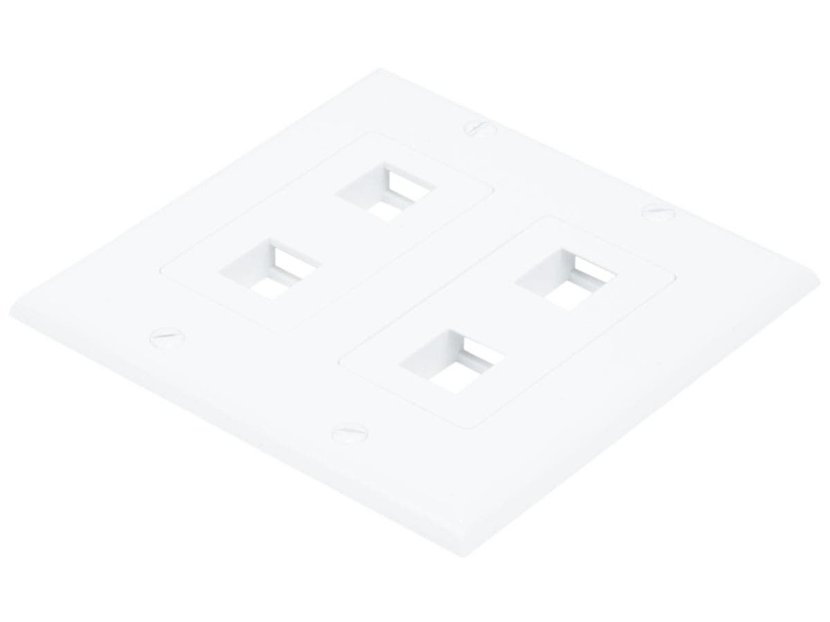 2-Gang Wall Plate for Keystone, 4 Hole - White