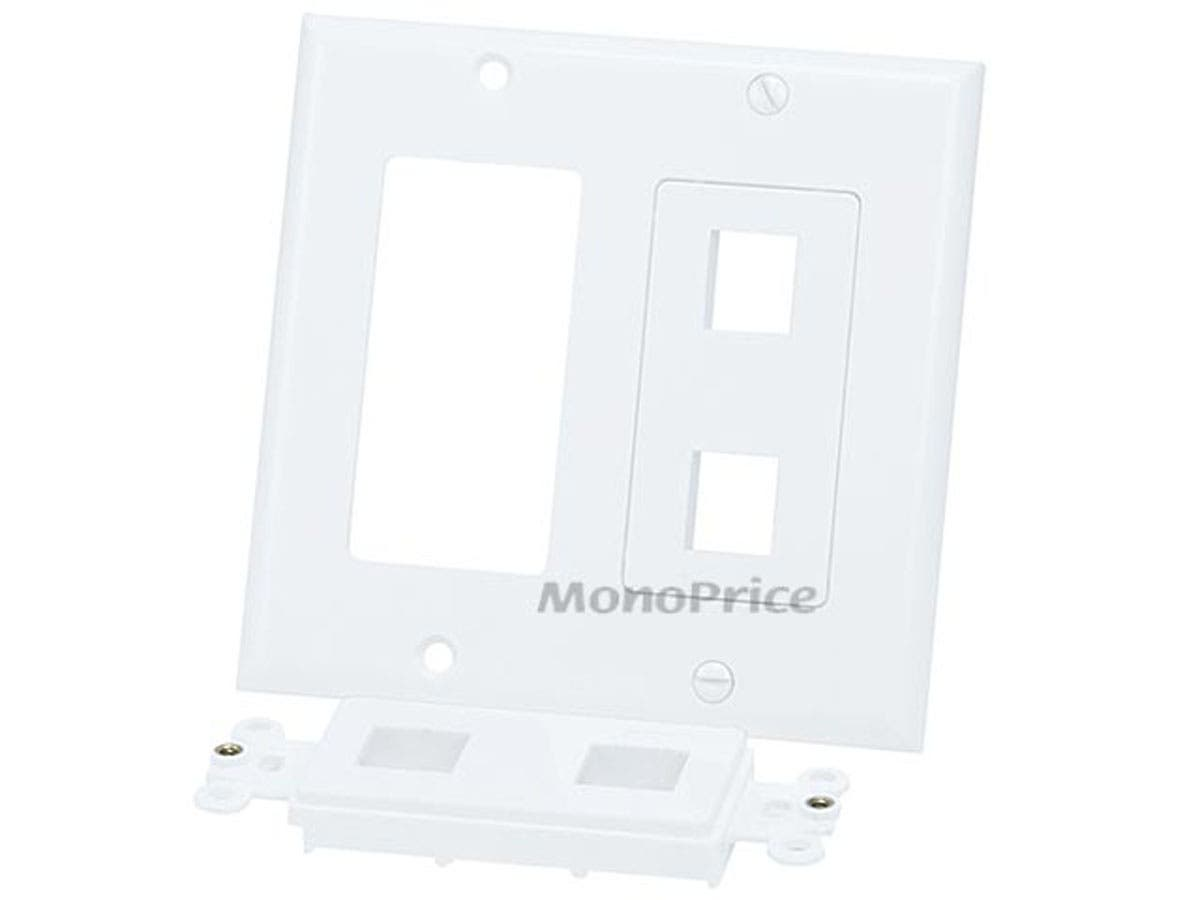 White 4 Hole 2-Gang Wall Plate for Keystone 10 Pack