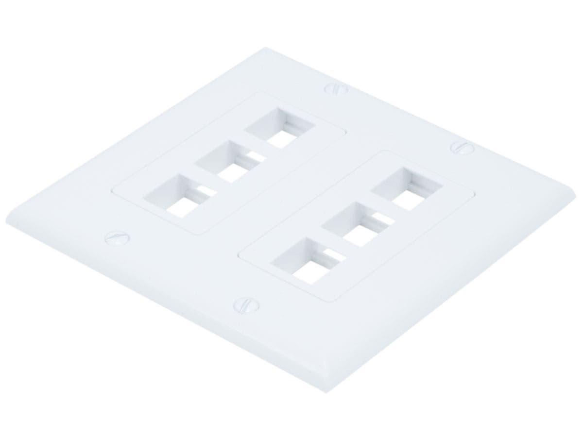 2-Gang Wall Plate for Keystone, 6 Hole - White