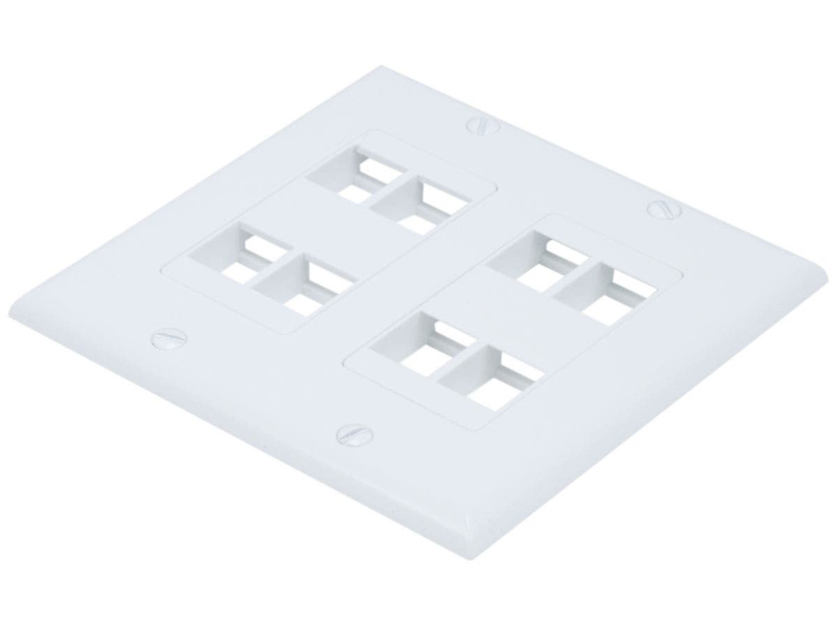 8 Port Hole 2-Gang Keystone Wall Plate Jack Insert Faceplate RJ45 Modular White