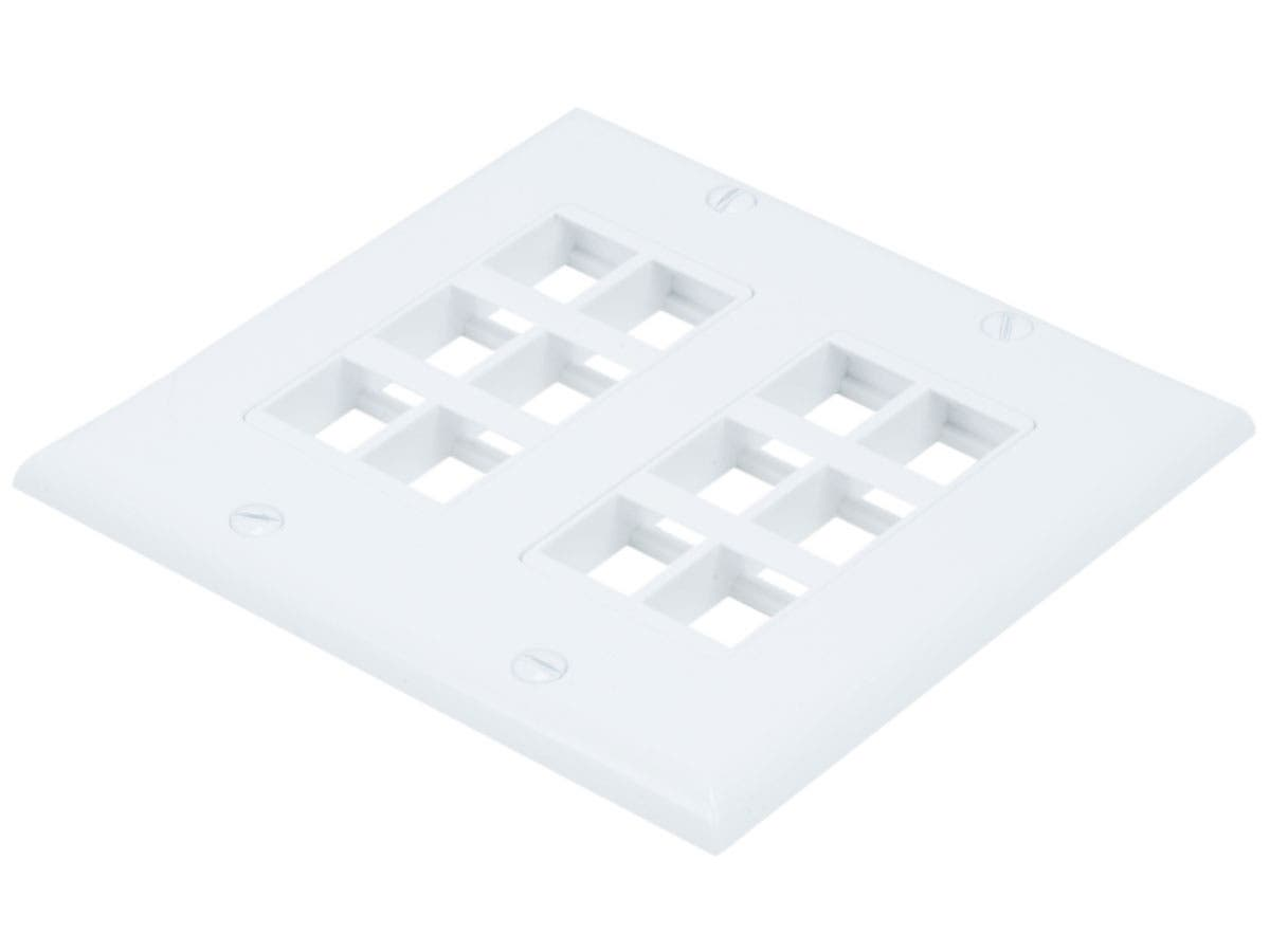 Monoprice 2-Gang Wall Plate for Keystone, 12 Hole - White-Large-Image-1