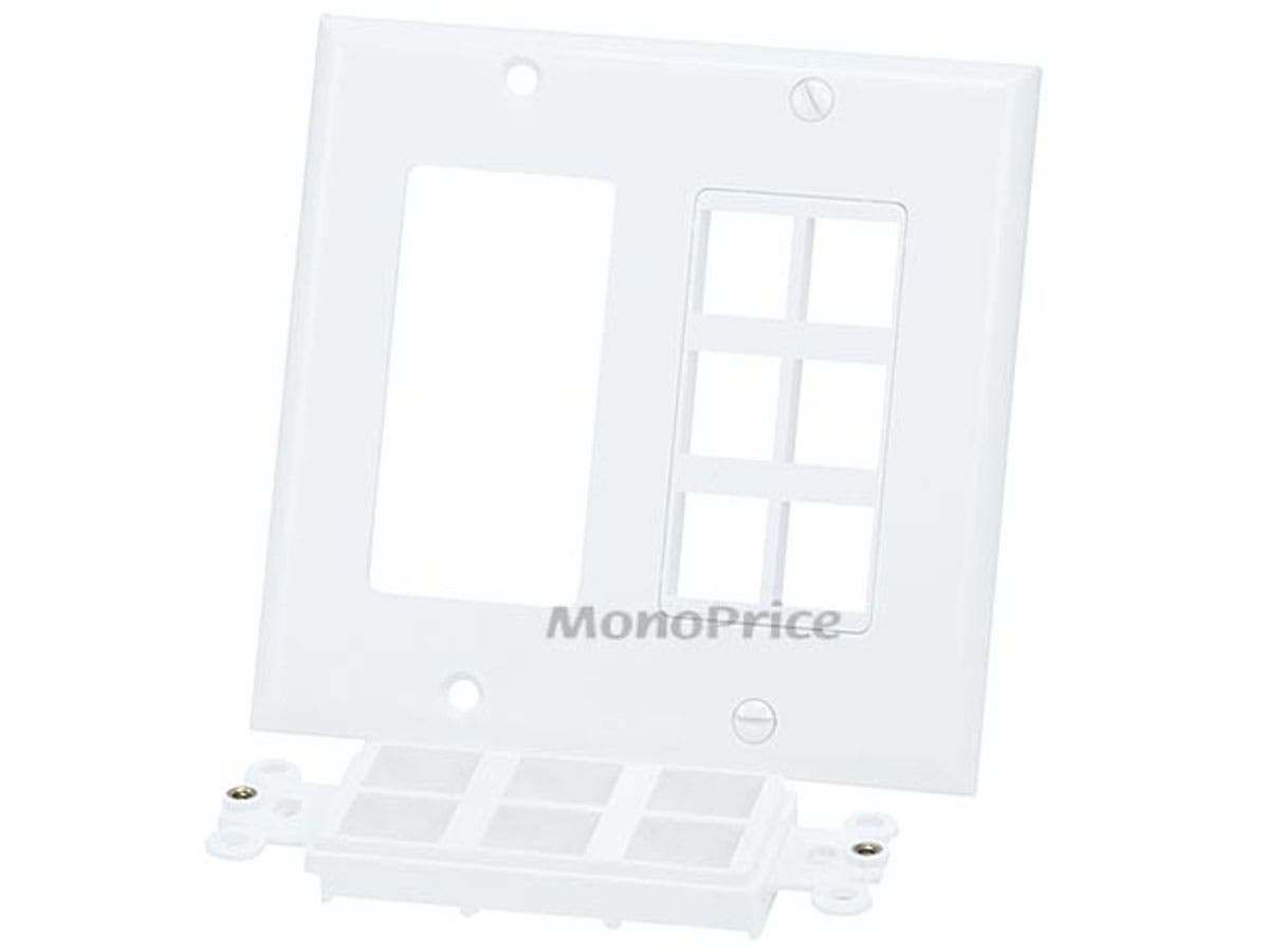 Monoprice gang wall plate for keystone hole white