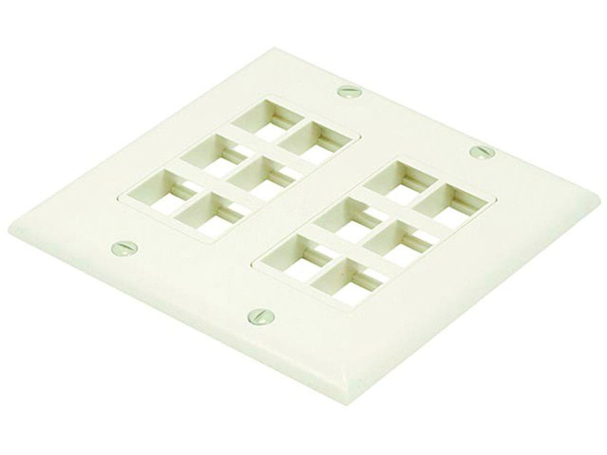 Monoprice 2-Gang Wall Plate for Keystone, 12 Hole - Ivory - main image