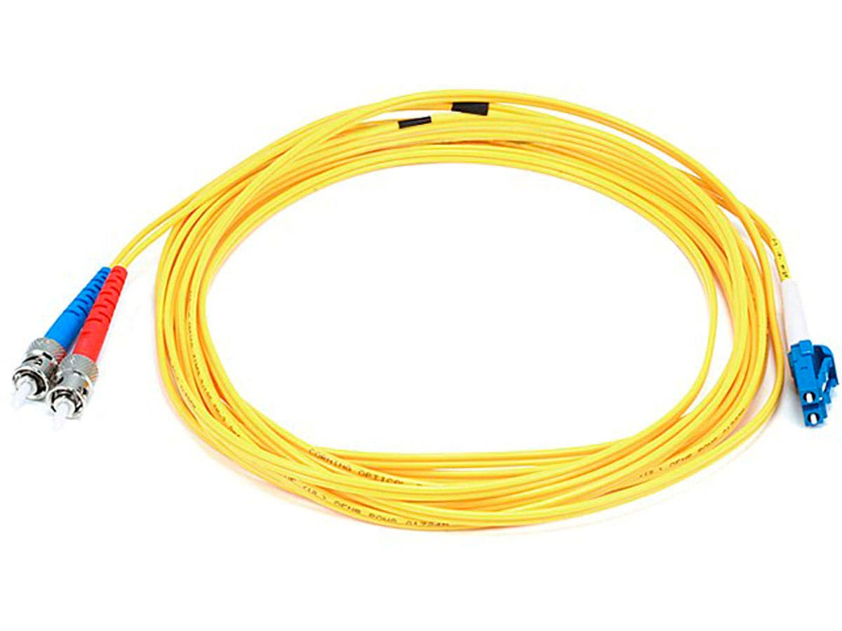 Monoprice Fiber Optic Cable - LC to ST, 9/125 Type, Single Mode, Duplex, Yellow, 5m, Corning-Large-Image-1