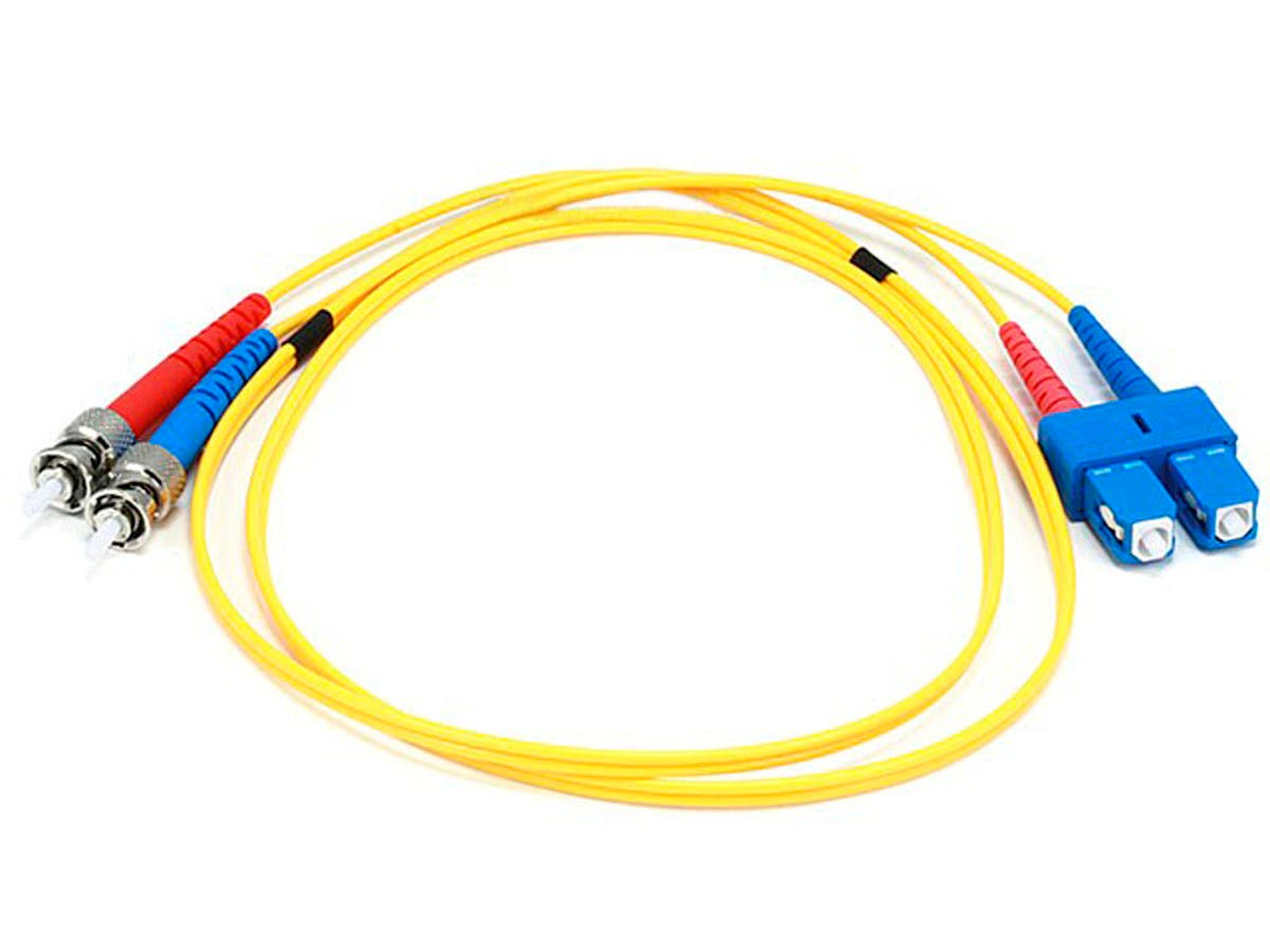 Monoprice Fiber Optic Cable - SC to ST, 9/125 Type, Single Mode, Duplex, Yellow, 1m-Large-Image-1